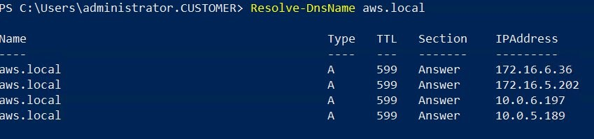 Resolution of DNS query in Powershell for AWS Managed Microsoft AD aws.local domain