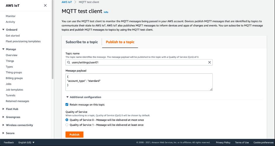AWS コンソール内の MQTT テストクライアントを使用して保持されたメッセージをパブリッシュする方法を示すスクリーンショット
