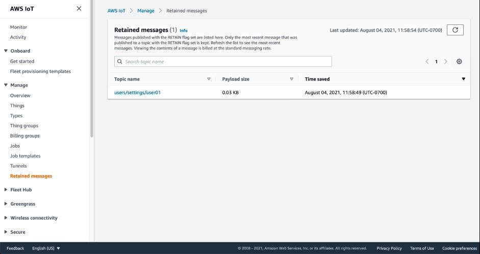 AWS IoT コンソールで保持されたメッセージページを示すスクリーンショット