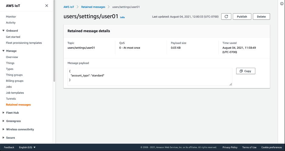 AWS IoT コンソール内で保持されたメッセージの詳細を示すスクリーンショット