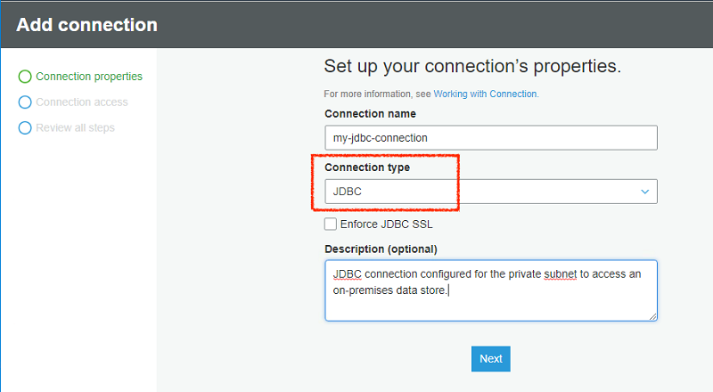 How to access and analyze on-premises data stores using AWS Glue