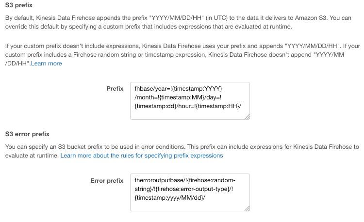 Amazon Kinesis Data Firehose custom prefixes for Amazon S3 objects