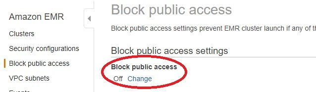 "Block public access section with the ""Change"" hyperlink circled in red."