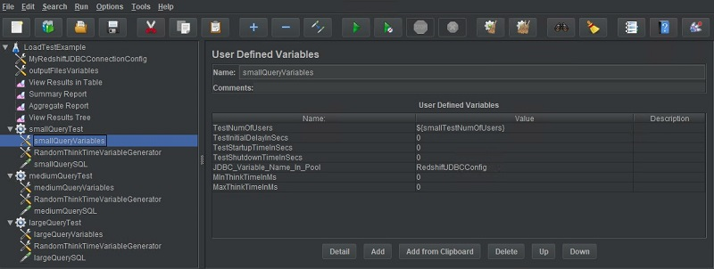 An additional User Defined Variables instance is added to each of the three thread groups to hold the variables in their individual scope.