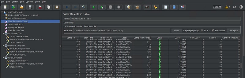The following screenshot shows the View Results in Table output.