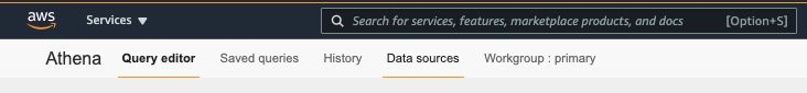 On the Athena console, choose Data sources.