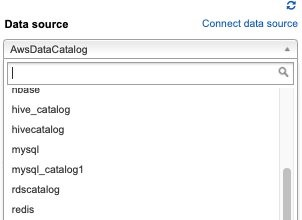 When the data source is registered, it's available in the Data source drop-down list on the Athena console.