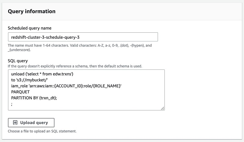 You also have the ability to upload a SQL query from a file.