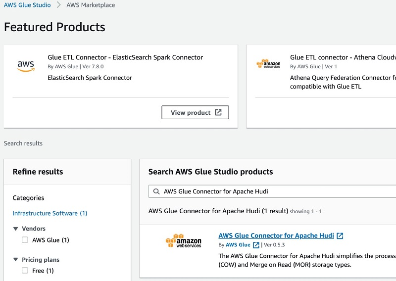 Go to the AWS Glue Studio Console, search for AWS Glue Connector for Apache Hudi and choose AWS Glue Connector for Apache Hudi link.
