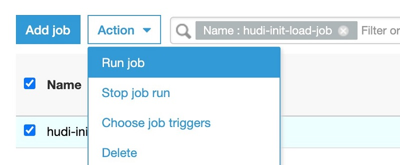 On the Action menu, choose Run job.