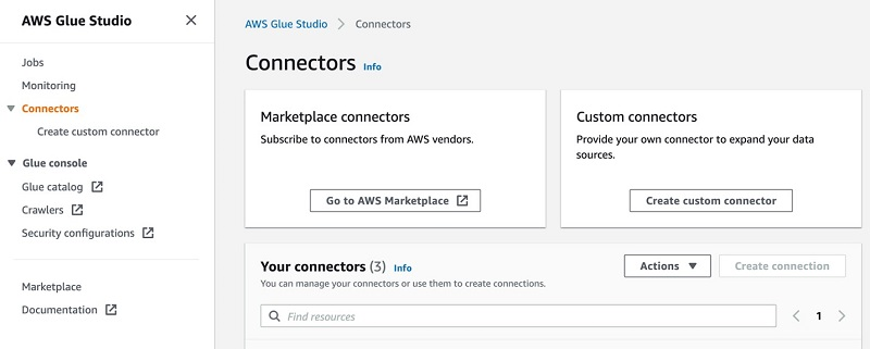 On the AWS Glue Studio console, under Connectors, choose Create custom connector.
