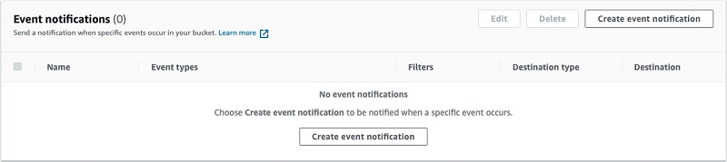 Under Event Notifications, choose Create event notification.