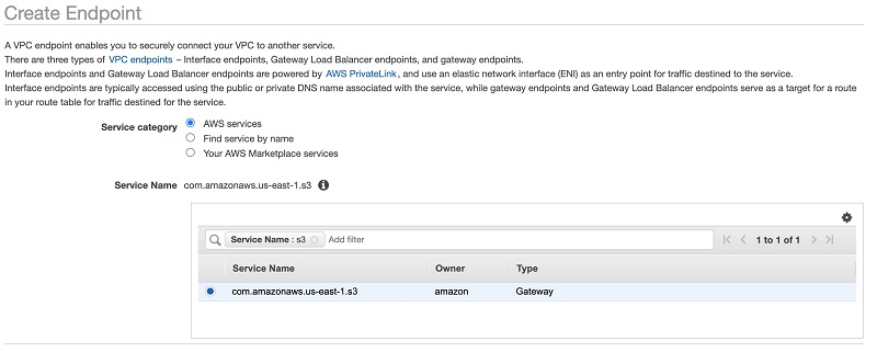 Select the S3 service gateway