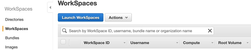 On the Amazon WorkSpaces console, choose Launch WorkSpaces.