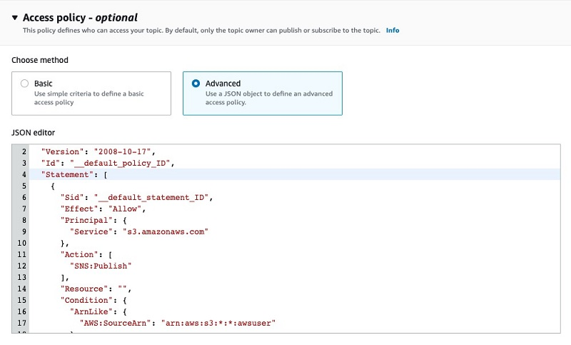 In the next steps, you edit the access policy of the SNS topic to give permission for Amazon S3 to publish to it.