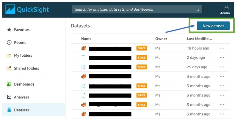In QuickSight, on the Datasets page, choose New dataset.