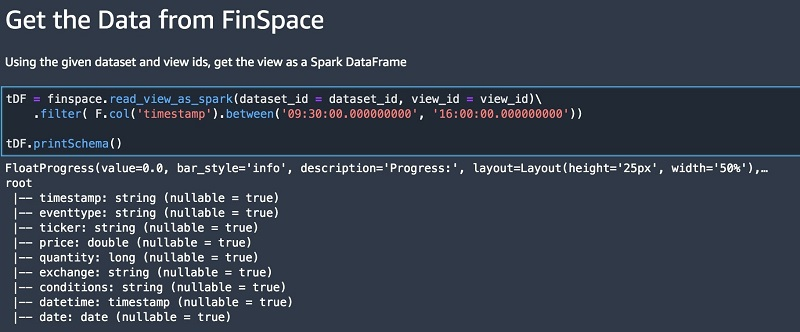 Read the data view into a Spark DataFrame.