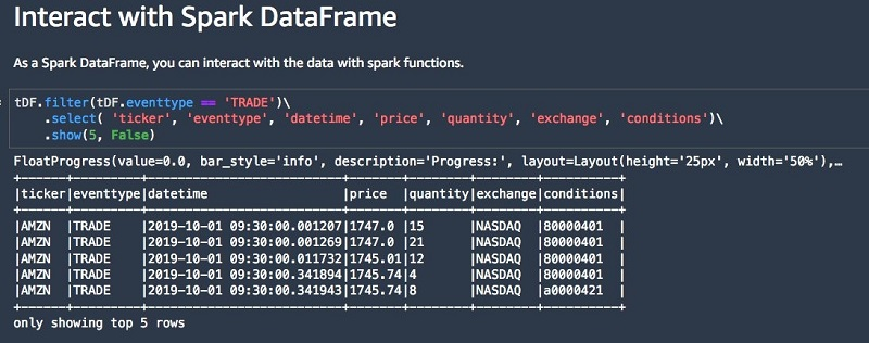 The data view now loaded into the DataFrame contains raw data events.
