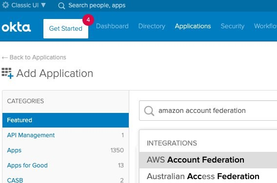 Search for and choose AWS Account Federation.