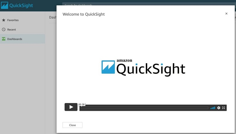 Choose the application icon to launch QuickSight.