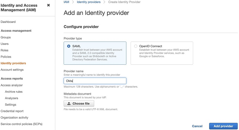 Choose Add provider.