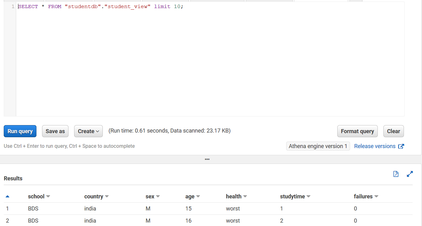Now if you query student_view on the Athena console with a select * SQL statement, you can see the following output.