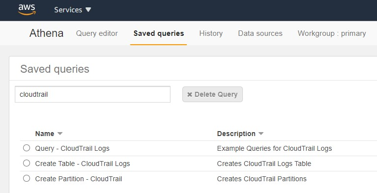 On the Athena console, on the Saved queries tab, search for the service log you want to interact with.