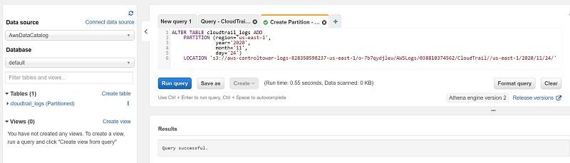 Choose Run query or press Tab+Enter to run the query.
