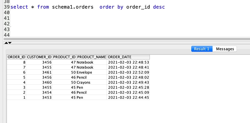 The following screenshot shows the details of the orders table in Vertica.