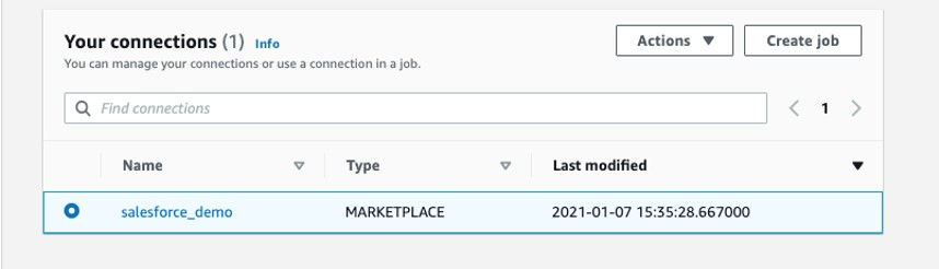 On the Connectors page, select the Salesforce connection and choose Create job.