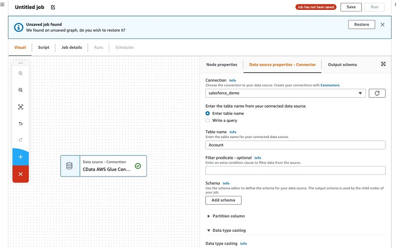 You can also specify a query to extract specific attributes from a Salesforce object.