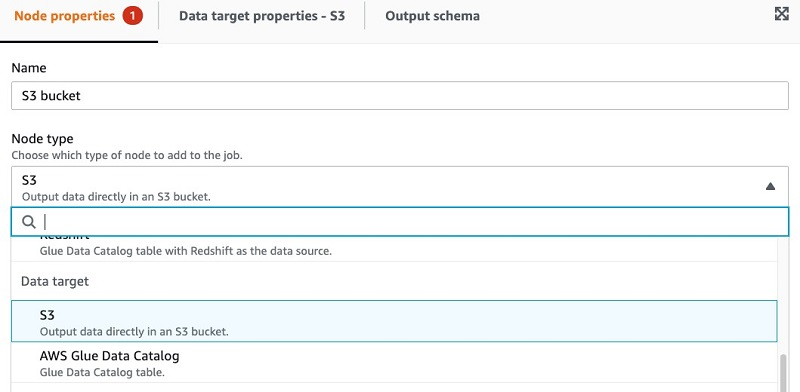 On the Node properties tab, For Node type, choose S3 as the Data target.