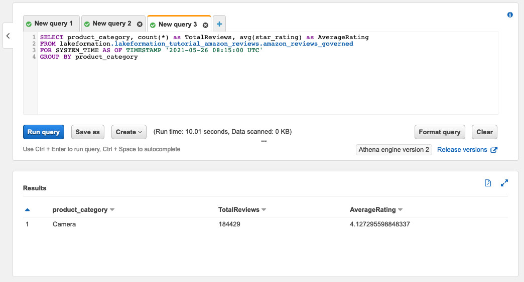 The following screenshot shows the query results.
