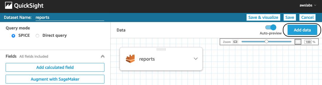 QuickSight add external data