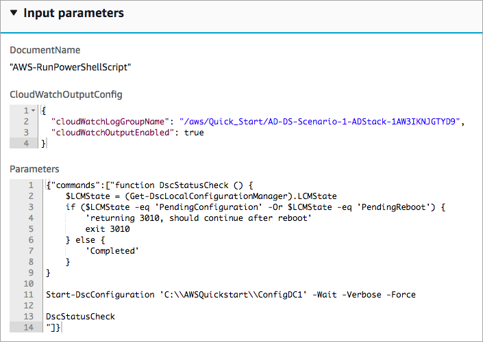 show input parameters