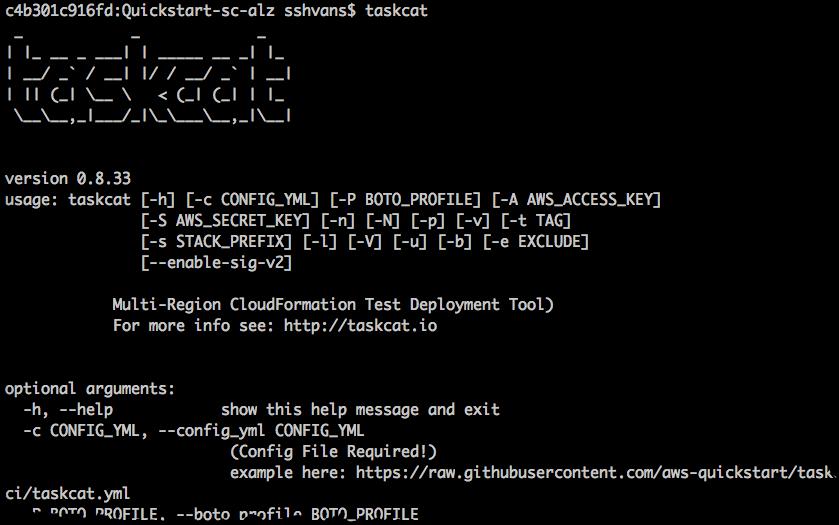 taskcat available options