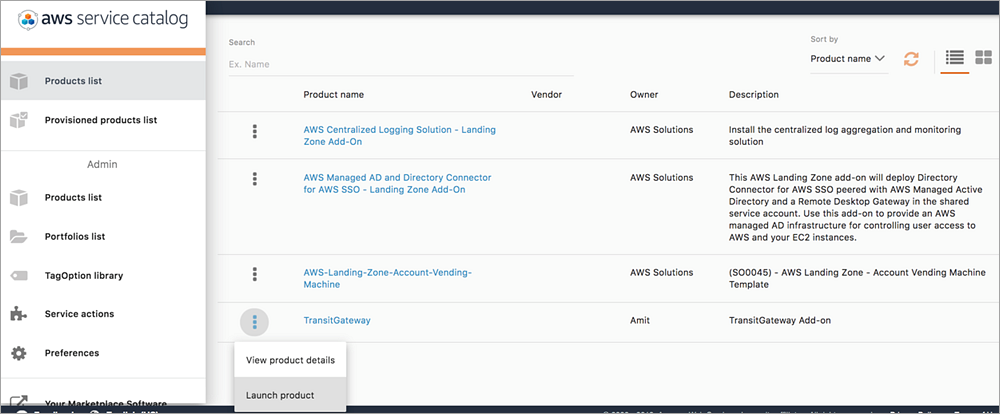 select the add on product to deploy.