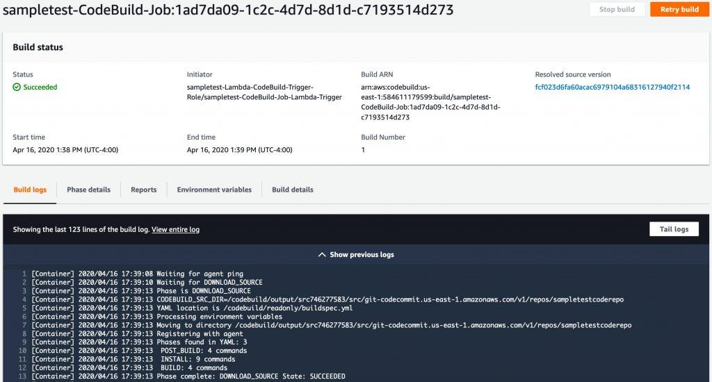 Build status screen.