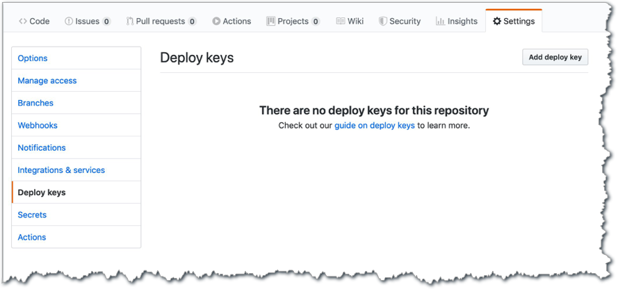 "Screen shot showing ""There are no deploy keys for this repository"""