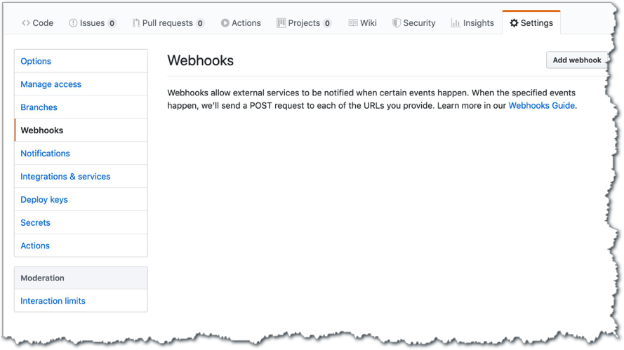 "Screen shot: ""Webhooks allow external services to be notified when certain events happen."