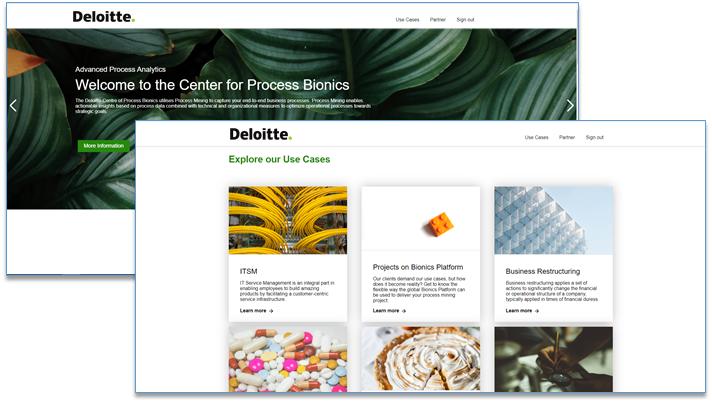 Deloitte Process Bionics Platform frontend screenshots