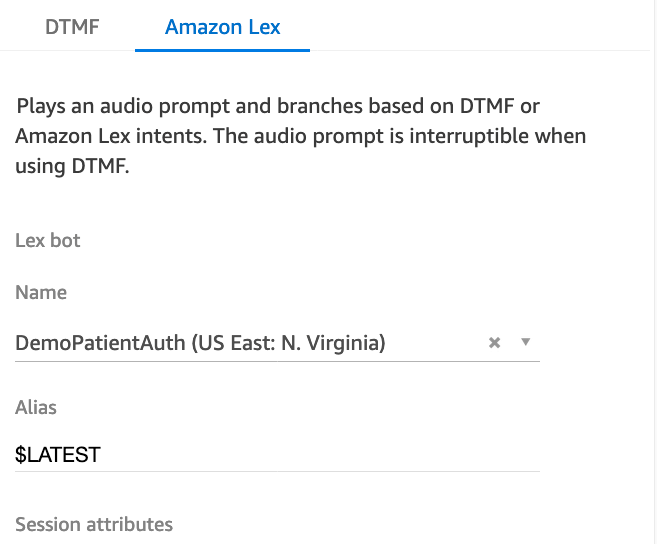 Example of Amazon Connect contact flow with Amazon Lex