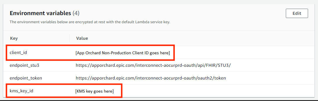 For demonstration purposes, use your unique client_id and kms_key_id as environment variables. In production, store these in AWS Secrets Manager.