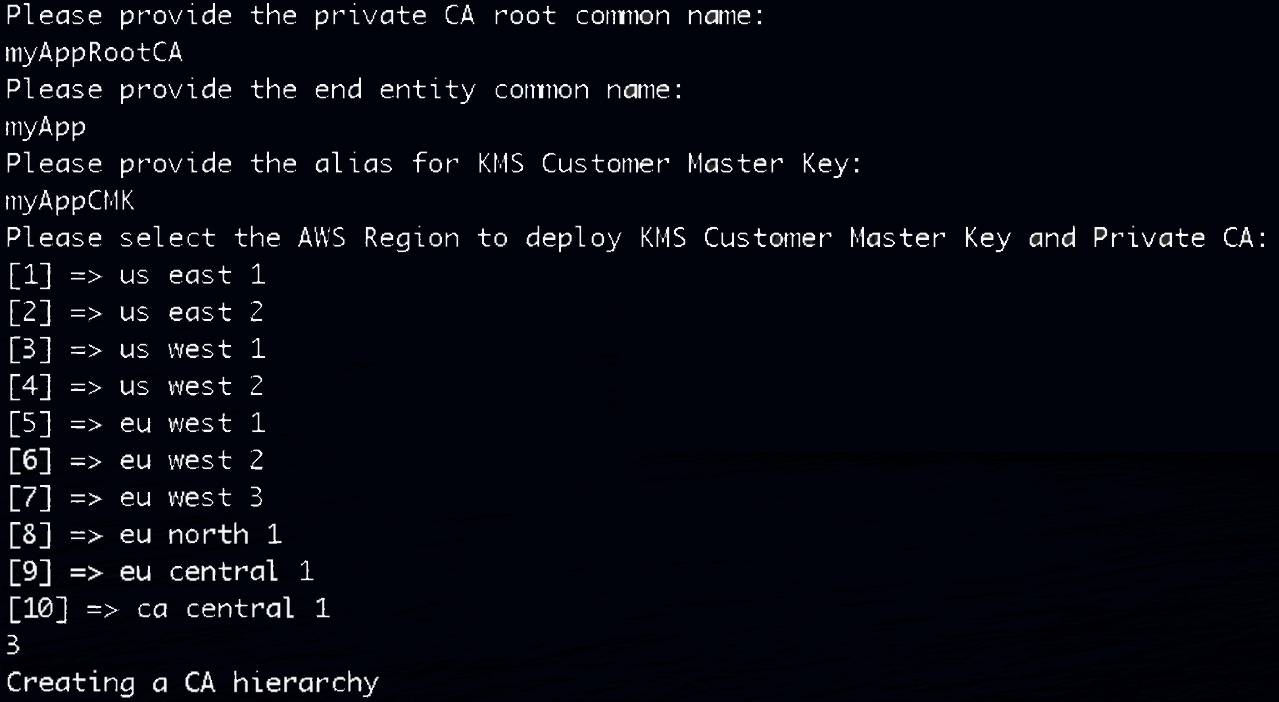 Provide a private CA name, entity common name, KMS key alias, and a Region for deployment