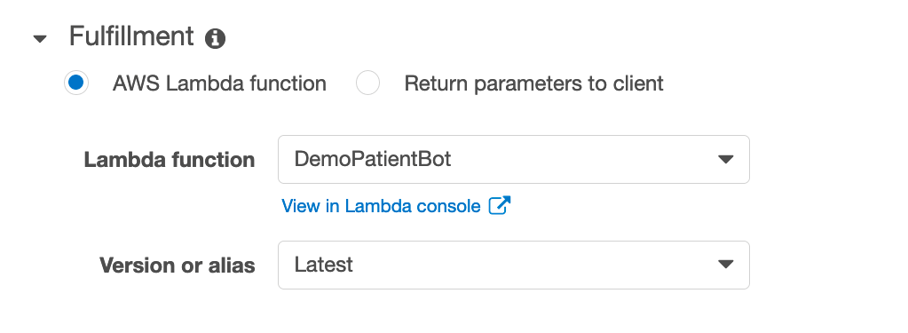 Update each of the bots' intents to use our Lambda function as the fulfillment