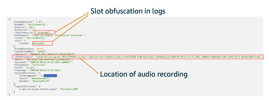 Example CloudWatch Logs entry showing obfuscation