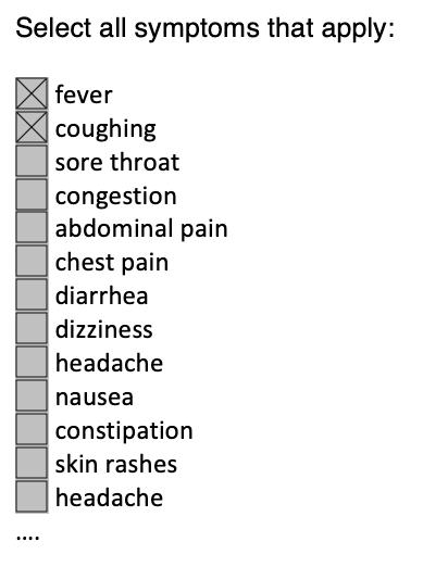 Example symptom reporting form