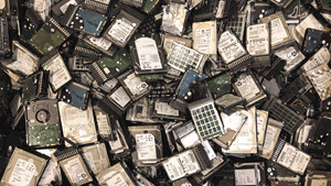 Cleansed hard drives that have been sorted to be shredded before recycling