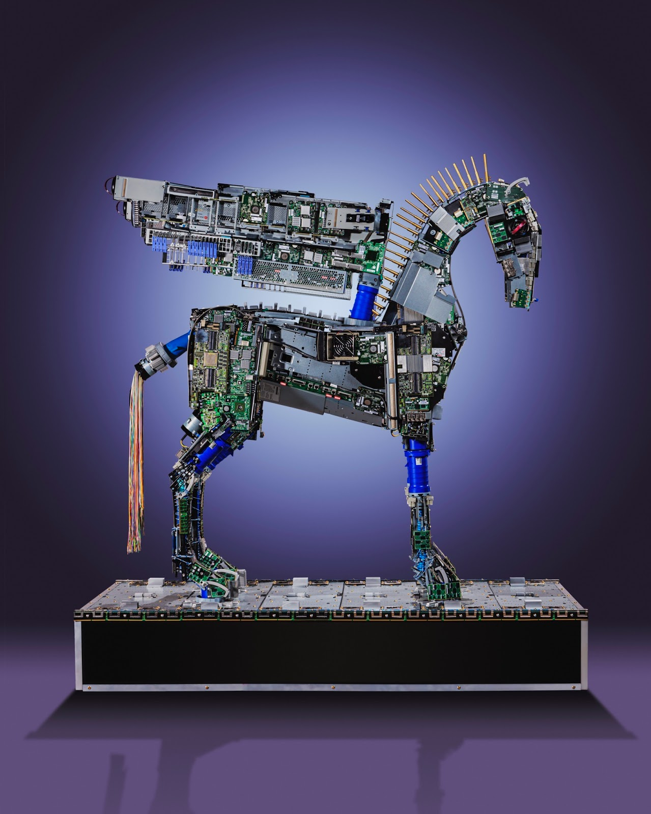 Gabriel Dishaw created Pegasus from parts and pieces of the data centers. Capital One will display the sculpture on its Knolls campus in Richmond, VA.