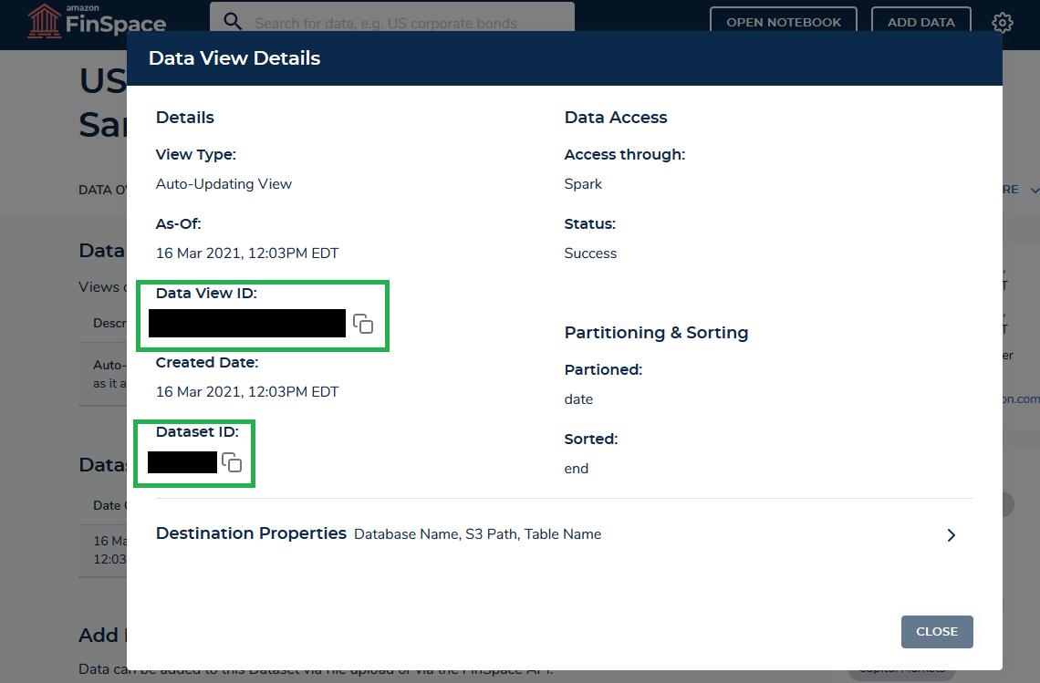 Amazon FinSpace Data View Details